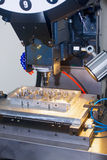 Industrial operation for drilling metal shaping metal piece Stock Photography