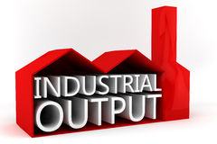 Industrial Output. A 3D factory containing the words Industrial Output Stock Image