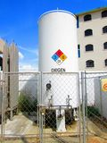Industrial oxygen tank in Romanian language stock photo