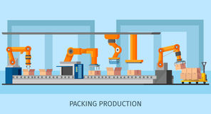 Industrial Packing System Process Template. With robotic arms and loaders working on automated conveyor belt vector illustration Stock Images