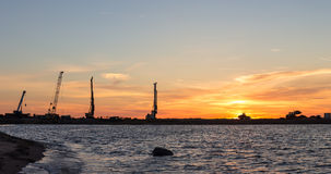 Industrial panorama at sunset Royalty Free Stock Images