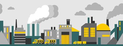Industrial panoramic seamless background. Industrial skyline panoramic background in flat style Royalty Free Stock Image