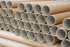Industrial paper core. A bundle of industrial use paper cores stock photography
