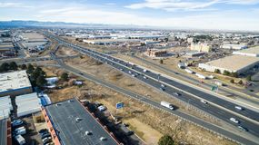 Industrial park. Denver, Colorado, USA-January 23, 2016. Aerial view of Highway 70 exit ramp Royalty Free Stock Photography