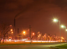 Industrial Park at Night Royalty Free Stock Images