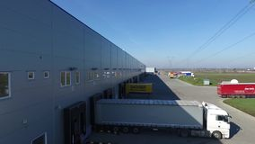 Industrial park with trukcs stock video footage