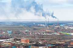 The industrial part of the city  Norilsk. Royalty Free Stock Images