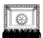 Industrial part on festival stage with spectators isolated on white vector Royalty Free Stock Images