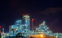 Power plant for Industrial Estate. Industrial Petrochemical landscape at night Royalty Free Stock Photos