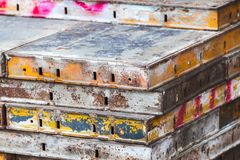 Industrial photo with scaffolding details Royalty Free Stock Photos