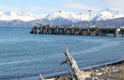 Industrial pier in the Kachemak Bay Royalty Free Stock Image