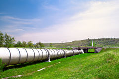 Industrial pipe with gas and oil. Industrial pipe with fuel gas and oil Royalty Free Stock Image