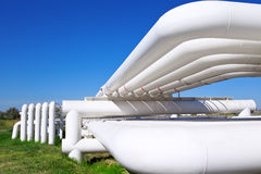 Industrial pipe with gas and oil and water stock image