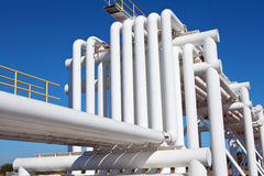 Industrial pipe with gas and oil and water Stock Photos