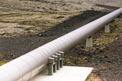Industrial Pipe at a Geothermal Power Station in Iceland Royalty Free Stock Photo