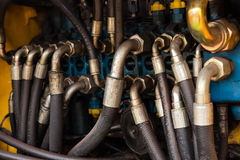 Industrial pipe system of hydraulic valves Royalty Free Stock Photography