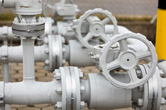 Industrial pipeline. Details of valves and pumps that are part of an industrial gasoline pipeline Stock Images