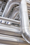 Industrial pipeline. View of an industrial plant, pipes and dampers Royalty Free Stock Image