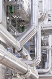 Industrial pipeline. View of an industrial plant, pipes and dampers Stock Images