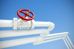 Industrial pipeline with gas or oil. 3d rendered illustration of industrial pipeline with gas or oil on a background of blue sky Stock Photo