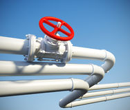 Industrial pipeline with gas or oil. 3d rendered illustration of industrial pipeline with gas or oil on a background of blue sky Stock Image