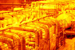 Industrial pipeline.Interior of chemical factory Stock Photography