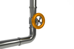 Industrial pipeline with orange valve isolated Stock Photography
