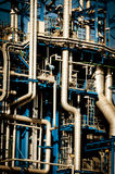 Industrial pipelines. And ducts in a modern refinery Royalty Free Stock Photos