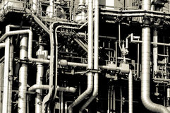 Industrial pipelines. And ducts in a modern refinery Stock Photo
