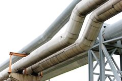 Industrial pipelines. Against blue sky Stock Photography