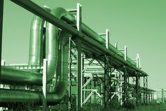 Industrial pipelines against blue sky Royalty Free Stock Photography