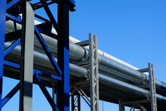Industrial pipelines against blue sky Royalty Free Stock Photo