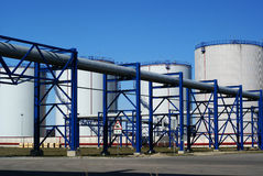 Industrial Pipelines And Storage Tanks Stock Photos