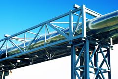 Industrial pipelines and electric power lines Royalty Free Stock Images