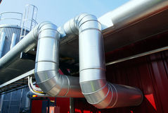 Industrial pipelines insulation sky Stock Images
