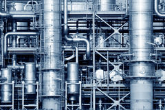 Industrial. Pipelines of a oil and gas refinery industrial plant Royalty Free Stock Images