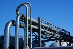 Industrial pipelines on pipe-bridge Royalty Free Stock Photos