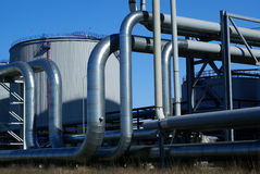 Industrial pipelines on pipe-bridge Stock Images