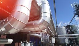 industrial pipelines pipe-bridge against blue sky Royalty Free Stock Photo
