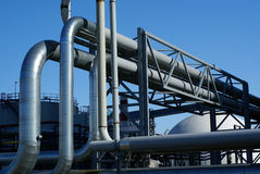 Industrial pipelines and storage tanks Stock Photo
