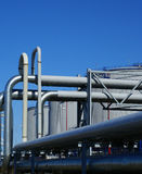 Industrial pipelines and storage tanks Stock Image