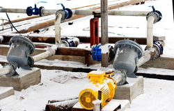 Industrial pipelines and valves Stock Image