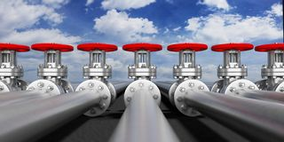 Industrial pipelines and valves on blue sky background, banner. 3d illustration. Row of industrial pipelines and valves with red wheels on blue sky background Royalty Free Stock Photography