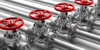 Industrial pipelines and valves close up on white background. 3d illustration. Industrial pipelines and valves with red wheels on white background. Closeup view Royalty Free Stock Photography