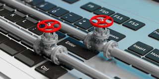 Industrial pipelines and valves on computer keyboard. 3d illustration. Industrial pipelines and valves with red wheels on computer keyboard. 3d illustration Stock Image