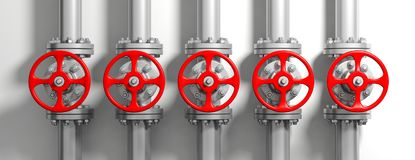 Industrial pipelines and valves on white wall background, banner. 3d illustration. Industrial pipelines and valves with red wheels on white wall background Stock Photos