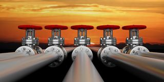 Industrial pipelines and valves on sky at sunset background, banner. 3d illustration. Row of iindustrial pipelines and valves with red wheels on sky at sunrise Royalty Free Stock Photos