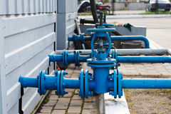 Industrial pipelines and valves Royalty Free Stock Photography
