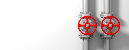Industrial pipelines and valves on white wall background, banner, copy space. 3d illustration. Two industrial pipelines and valves with red wheels on white wall Stock Photography