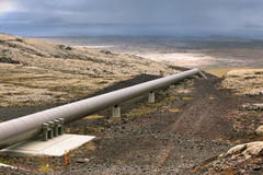 Industrial Pipes at a Geothermal Station in Iceland Stock Photos